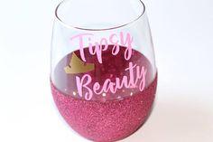 Disney Bridesmaid Glitter Wine Glasses // Sleeping Beauty Wine