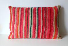 Organic Shine Society Modern Bohemian Throw Pillow. Handwoven Wool Striped Vintage Bolivian Blanket Kilim Pillow Cover. Pink, Orange. 16x16