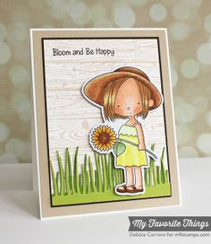 Sunflower Sweetheart, Wood Plank Background, Sunflower Sweetheart Die-namics, Tall Grassy Edge Die-namics - Debbie Carriere #mftstamps