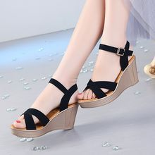 Summer Shoes Woman 2017 Women's Sandals ~Platform Wedge Sandals Women~Flock Cross-tied Women Sandals High Heels Age * This is an AliExpress affiliate pin. Details on product can be viewed on AliExpress website by clicking the VISIT button Platform Wedge Sandals, Women's Shoes Sandals, College Shoes, Wedge Wedding Shoes, Womens Summer Shoes, Beautiful Heels, Fashion Sandals, Girls Shoes, High Heels