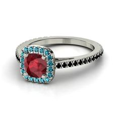 Cushion Ruby Sterling Silver Ring with London Blue Topaz