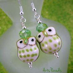 Light Green and White Ceramic Hoot Owl with Crystal Dangle Earrings by ArtsParadis