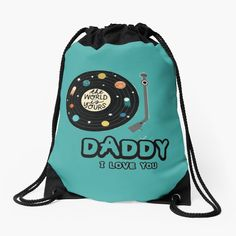 """""""Cassette Tape Father's Day -  Music Lover's Fathers Day"""" Drawstring Bag by hiwaga   Redbubble Cassette Tape, Music Lovers, Drawstring Backpack, Fathers Day, Daddy, Flowers, Bags, Travel, Handbags"""