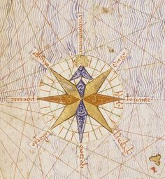 "In 1375, the Jewish cartographer Abraham Creques produced the Catalan Atlas for King John I of Aragon. A useful feature first used on the maps in this book established the cartographic convention of the ""compass rose."" This is the one from the original manuscript, which now resides in the National Library of France. As a basic work, Columbus referred to this, among many other things, in planning his voyages."