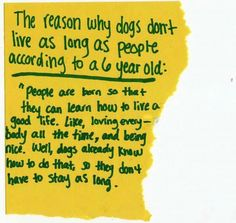 The reason why dogs don't live as long as people according to a 6 year old