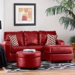 $678.99  Chelsea Home Furniture - Rona Red Sofa Chaise/Ottoman - 446