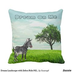 Dream Landscape with Zebra Kids Pillow