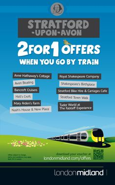 2 for 1 offers in Stratford upon Avon when you go by train