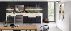 Contemporary custom Leicht Avenida kitchen by German Kitchen Center Traditional Furniture, Traditional Kitchen, Contemporary Furniture, Kitchen Furniture, Home Furniture, Black Subway Tiles, German Kitchen, Cuisines Design, Black Kitchens