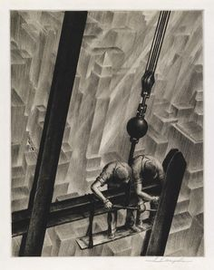 SAMUEL L. MARGOLIES  Men of Steel.   Drypoint, circa 1940. 378x295 mm; 14 7/8x11 5/8 inches, full margins. Edition of 250. Signed in pencil, lower margin. Published by Associated American Artists, New York. A brilliant, richly-inked impression with every detail distinct.