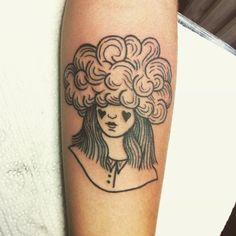 Little fluffy clouds / girl with her head up in the sky / danke. Sweet Tattoos, Cute Tattoos, Beautiful Tattoos, Flower Tattoos, Girl Tattoos, Tattoos For Women, Tatoos, Cloud Tattoo, Light Tattoo