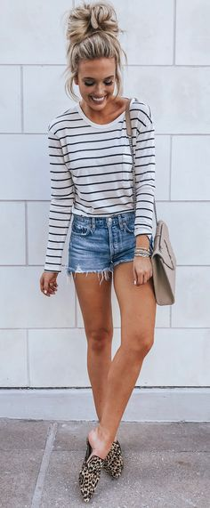 eddeeaf8b6 #summer #outfits white and black striped long-sleeved shirt and blue denim  shorts