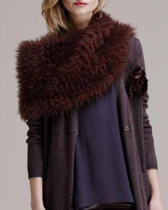 Brunello Cucinelli  Cashmere-Fur Knit Capelet NWT Goat fur sz M $ 2180 #BrunelloCucinelli #Cape