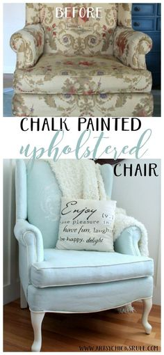 Diy Furniture Chalk Painted Upholstered Chair Makeover – Before and After EASY – artsychicksrule -Read More – Refurbished Furniture, Upholstered Furniture, Repurposed Furniture, Shabby Chic Furniture, Bedroom Furniture, Diy Furniture, Furniture Styles, Furniture Design, Furniture Purchase