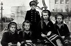 The last Great Duchess of Russia, Anastasia. Her story has always been a fascination to me, especially now that I've learned she's the great-great granddaughter of Queen Victoria.  Here pictured with her siblings. Brother  Alexei is in the back with sisters Olga, Tatiana, and Marie sitting. Anastasia is the youngest daughter.