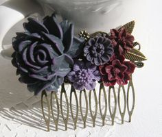 Cabochon utopia bridal bride hair pin comb romantic vintage flare modern dark purple rose leaves leaf flowers antique victorian filigree by AdoredByYou on Etsy