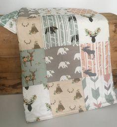 Sage Baby Quilt Girl Woodland Crib Bedding Baby Bedding
