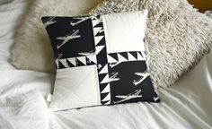 "GDUKStyle.com Artisan Feature: Learning to Fly Cushion 14"" sq Linen £18 from Dimple Stitch."