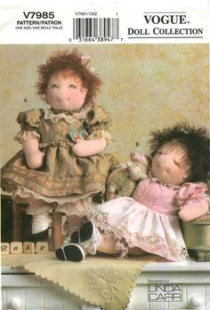 """Vogue Doll Collection V7985 Sewing Pattern for 15"""" Baby Dolls and Clothes by CarlasHope on Etsy"""