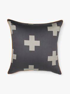 AURA Crosses Cushion on Charcoal, available at Forty Winks