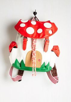 Kawaii, Mushrooms, Travel, Quirky, Scholastic Fungi House Backpack by ModCloth from ModCloth. Saved to Bags. Kawaii Fashion, Cute Fashion, Quirky Fashion, Lolita Fashion, Retro Fashion, Kids Fashion, Vintage Bags, Retro Vintage, Cute Backpacks