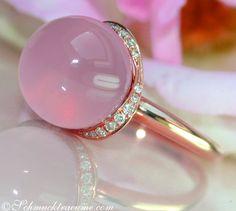 Cute Rose Quarz Diamond Ring, 9,97 cts. RG-18K - schmucktraeume.com