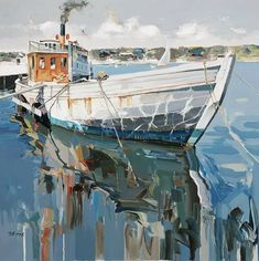 151 Exquisite Paintings by Albanian Artist Josef Kote Landscape Drawings, Landscape Art, Landscape Paintings, Watercolor Paintings, Seascape Art, Boat Art, All Nature, Painting Gallery, Water Crafts