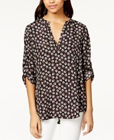 Maison Jules Roll-Tab-Sleeve Floral-Print Blouse, Only at Macy's