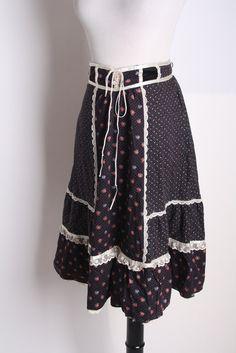 Vintage Floral Gunne Sax Prairie Dress  with Lace and by aiseirigh, $44.00