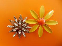 Vintage Flowers 1950  Flower Crystal and Enameled by RAKcreations, $57.00