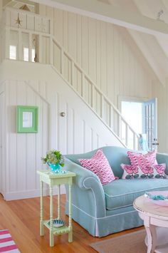 Cottage style is synonymous with easy living. Often associated with decorating a beach house or vacation home, today's cottage style fits easily right at home, too. Coastal Living Rooms, Cottage Living, Coastal Cottage, Cozy Cottage, Nantucket Cottage, Coastal Bedrooms, Cottage Ideas, Beach Cottage Style, Beach House Decor