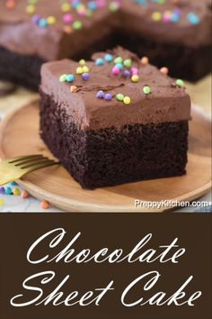 How to bake a chocolate sheet cake recipe for Birthday celebration or office parties preppykitchen chocolatecake chocolate chocolatesheetcake sheetcake fromscratch desserts Easy Vanilla Cake Recipe, Chocolate Cake Recipe Easy, Chocolate Chip Recipes, Chocolate Buttercream, Cake Chocolate, Delicious Chocolate, Whipped Buttercream, Chocolate Sheet Cake Recipe From Scratch, Homemade Chocolate Recipes
