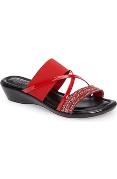 TUSCANY by Easy Street® Velino Crystal Embellished Strappy Wedge Sandal (Women) available at #Nordstrom