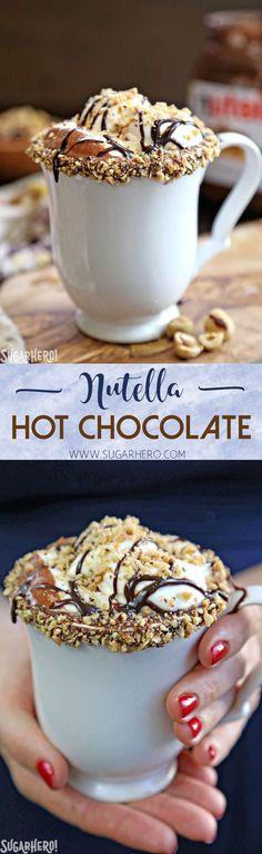 Nutella Hot Chocolate – a rich, indulgent sipping chocolate with Nutella mixed right in! | From http://SugarHero.com