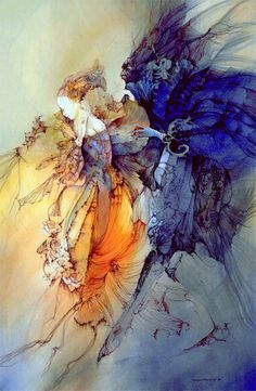 'Will you marry me?' (c. 1998) illustration from Rose Daughter by Robin Mckinley, illustrated by Anne Bachelier