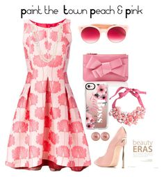 """Paint the Town Peach & Pink"" by shamrockclover on Polyvore featuring P.A.R.O.S.H., Casadei, Pared, Delpozo, Splendid Pearls, ban.do and Casetify"