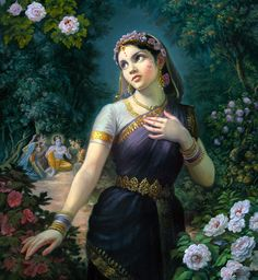 Radha is a well- known goddess in Hindu Mythology. Also known as Radharani, she is usually depicted with Lord Krishna. Hare Krishna, Krishna Radha, Radha Krishna Pictures, Krishna Images, Indian Gods, Indian Art, Mandala, Radha Rani, Krishna Painting