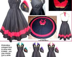 YOU DESIGN... Full Circle skirted Dress 50s 1950s Pin Up Bombshell Halter Dress with Pretty Embroidery... your fabric your color...
