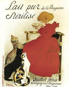 ART NOUVEAU Poster Print painting by Steinlen for Pure Sterilized Milk 1894-- Paris. $11.99, via Etsy.  http://www.etsy.com/listing/88741732/art-nouveau-poster-print-painting-by?ref=usr_faveitems#