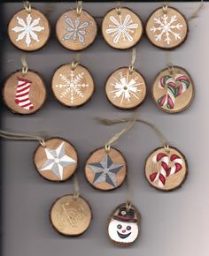 "Handmade, hand painted 1-1/2"" wood slice Christmas decorations, $3.00 each or choose any 10 for $25.00, shipping $2.95"