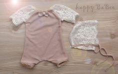 Sets - Newborn Set Romper Mütze Prop Photography - ein Designerstück von Happy-BaBee bei DaWanda