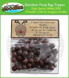 Reindeer Poop - malted milk balls or chocolate covered raisins