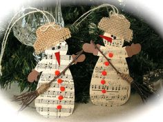 Handmade music tags measure approximately 4,5 x 3 So lovely for tying onto christmas gift bag.