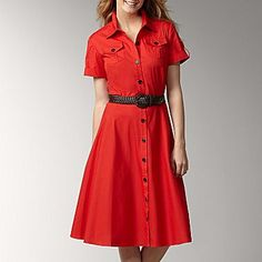 Liz Claiborne Belted Poplin Shirtdress with Braid Belt - jcpenney