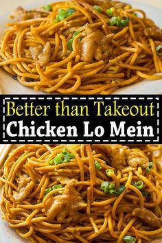 Chicken lo mein is way better than takeout. This easy Chicken Lo Mein recipe is … Chicken lo mein is way better than takeout. This easy Chicken Lo Mein recipe is a perfect homemade takeout with savory chicken, noddles and crisp veggies. Yummy Chicken Recipes, Yummy Food, Recipe Chicken, Healthy Chicken, Chicken Salad, Chicken Lo Mein Recipe Easy, Best Lo Mein Recipe, Healthy Lo Mein Recipe, Cooked Chicken