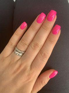 Short Pink Nails, Pink Summer Nails, Cute Pink Nails, Short Gel Nails, Pink Acrylic Nails, Fancy Nails, Pretty Nails, Neon Pink Nails, Dark Pink Nails
