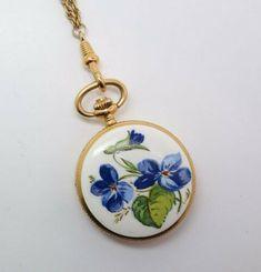 Vintage Bucherer Swiss Ladies Enameled Violets 17J Pendant Watch | eBay