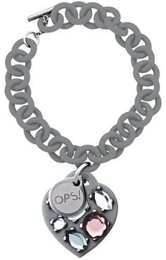 Opsobjects OPS!Stone OPSBR-171 #Opsobjects #bracelet Grey anallergic resin bracelet with soft-touch finish. Grey silicon heart pendant with coloured stones. Steel tag inset with logo.