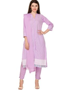 #Light #Purple #Cotton #Straight Cut #Suit #nikvik  #usa #designer #australia #canada #freeshipping #fashion #dress #sarees #sale