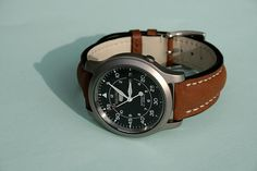 Seiko 5 Military w/ Leather band - Functional Seiko 5 Military, Retro Watches, Cool Watches, Watches For Men, Seiko Snk809, Seiko 5 Watches, Seiko Mod, Watch Brands, Leather